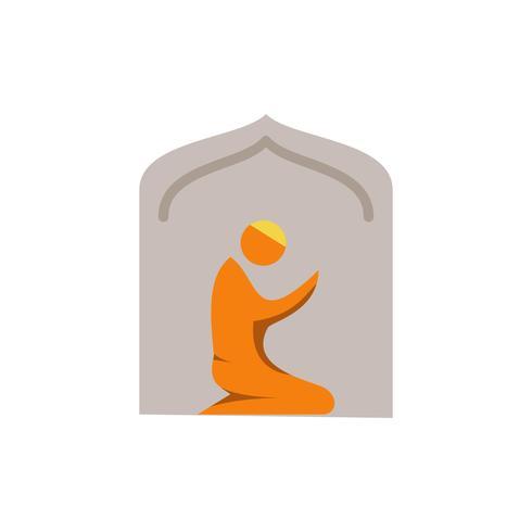 oração muçulmana no ícone plana de mesquita. ramadan kareem vetor
