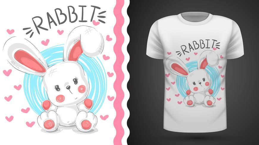 Coelho de peluche, coelho - ideia para imprimir t-shirt vetor
