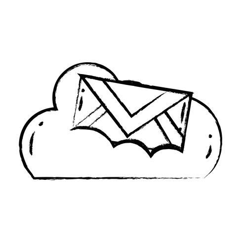 figura dados em nuvem com mensagem de cartão de email vetor