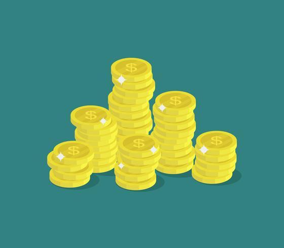 Moeda de dinheiro em um fundo branco vetor