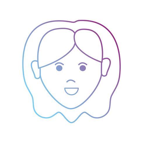mulher de avatar de linha com design de penteado vetor