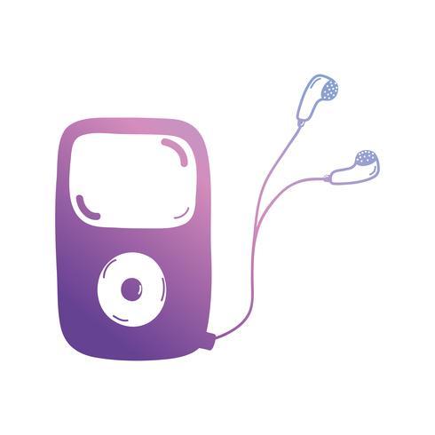 linha mp3 player para ouvir música com fones de ouvido vetor