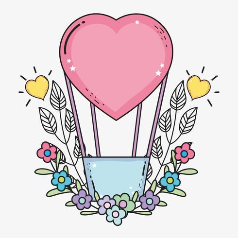 balões de ar do coração com flores e folhas vetor