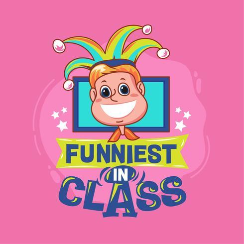 Mais engraçado na frase da classe com ilustração colorida. De volta às citações da escola vetor