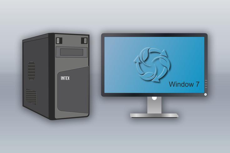 Computador Desktop com LED Vetores