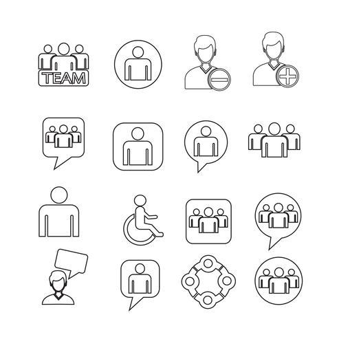 conjunto de ícones de pessoas ilustração vetor