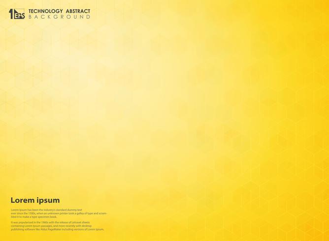 Amarelo abstrato do inclinação do fundo futurista do teste padrão da tecnologia do hexágono da ciência. Projeto de decoração para usar em cartaz, anúncio, folheto, revista anual e trabalho de arte. vetor