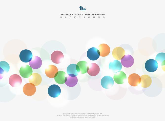 A bolha colorida do círculo do tom incorporado abstrato com luz brilha o fundo. Você pode usar para anúncio, cartaz, web, arte, página, relatório de capa. vetor