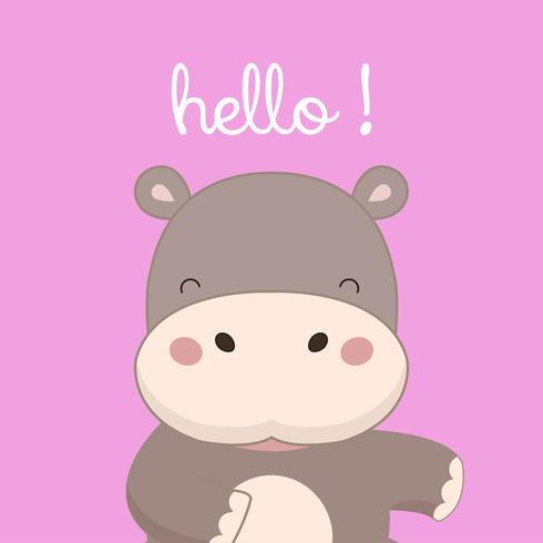 Hippo diz Olá. vetor