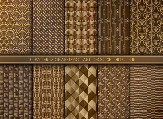 Grupo antigo grande abstrato do projeto do teste padrão do art deco. Você pode usar para o trabalho de arte de decoração, anúncio, estilo de luxo. vetor