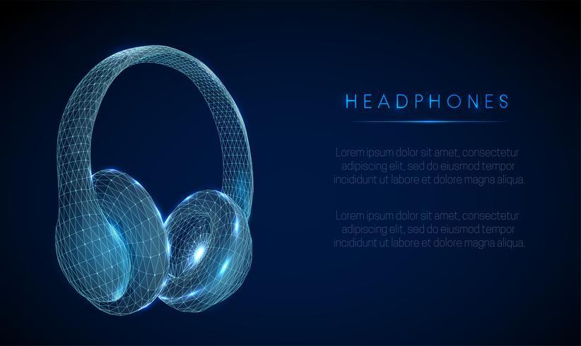 Abstarct fones de ouvido estilo baixo poli. Estrutura de estrutura de arame. vetor