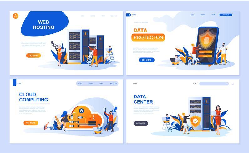 Conjunto de modelos de página de destino para Hospedagem, Proteção de Dados, Data Center, Cloud Computing. Os conceitos lisos modernos da ilustração do vetor decoraram o caráter dos povos para o desenvolvimento do Web site e do Web site móvel.