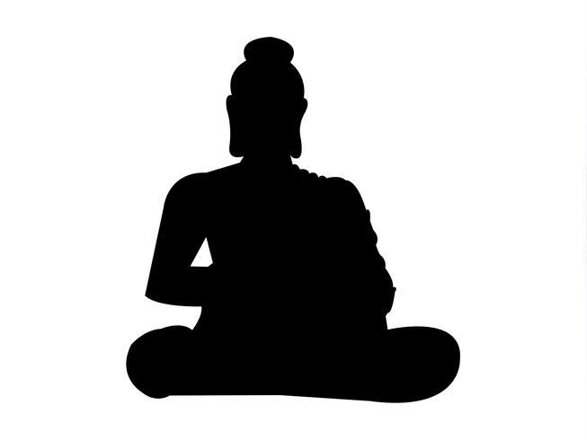 Buda meditando silhueta negra vetor