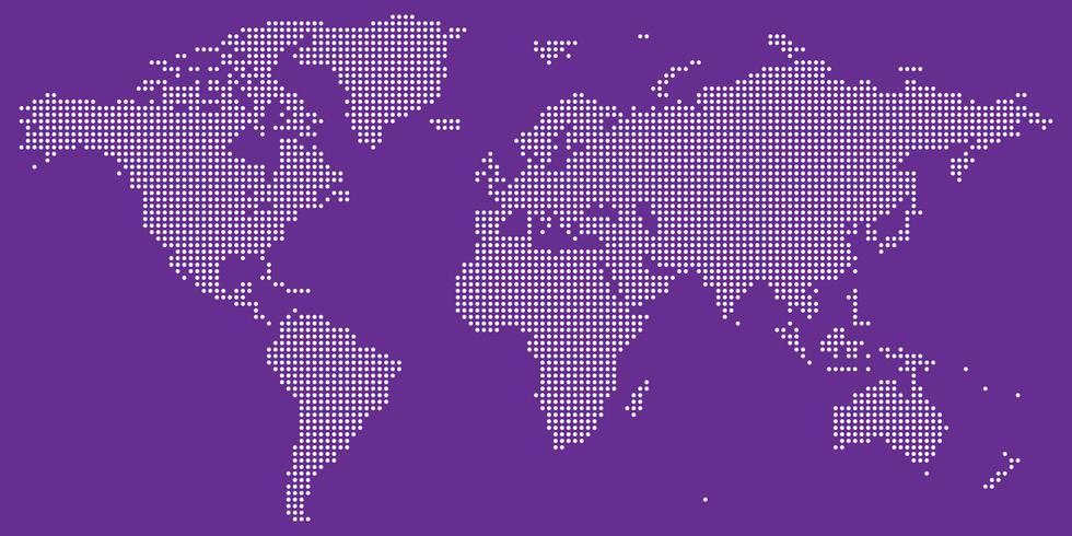 Branco no vetor de mapa mundo pontilhado roxo