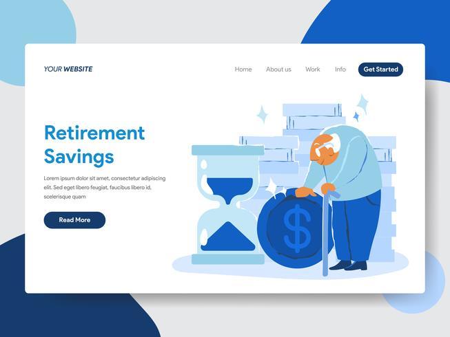 Molde da página da aterrissagem do conceito da ilustração das economias da aposentadoria. Conceito moderno design plano de design de página da web para o site e site móvel. vetor