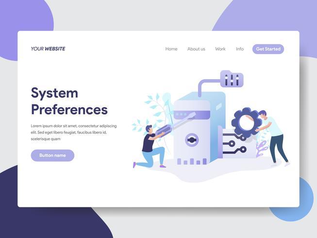 Modelo de página de aterrissagem de Preferências do sistema definindo o conceito de ilustração. Conceito moderno design plano de design de página da web para o site e site móvel. vetor