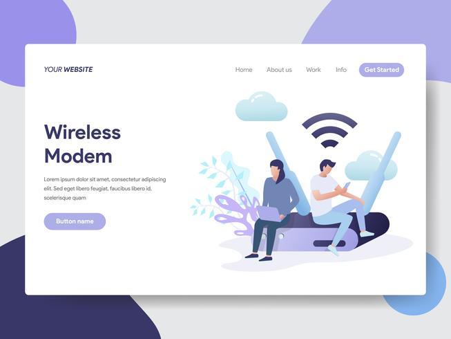 Modelo de página de aterrissagem do conceito de ilustração de modem sem fio. Conceito moderno design plano de design de página da web para o site e site móvel. vetor