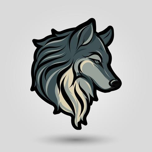 sinal de cabeça de lobo vetor