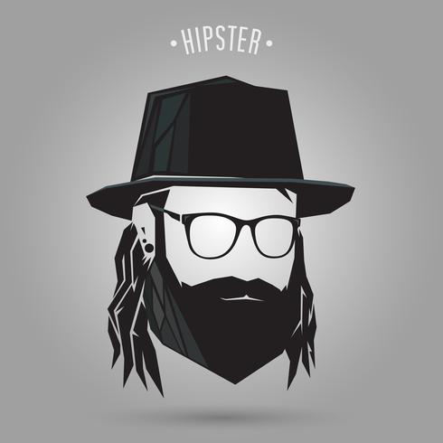 estilo de cabelo longo hipster vetor