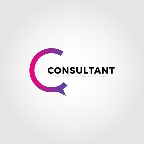 Carta de consultor colorido tipo C logotipo modelo vetor