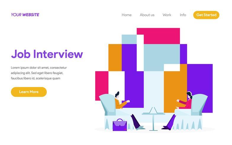 Molde da página da aterrissagem de Job Interview Illustration Concept. Conceito moderno design plano de design de página da web para o site e site móvel. vetor