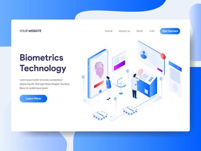 Molde da página da aterrissagem do conceito isométrico da ilustração da tecnologia da biometria. Conceito de design plano isométrico de design de página da web para o site e site móvel. vetor