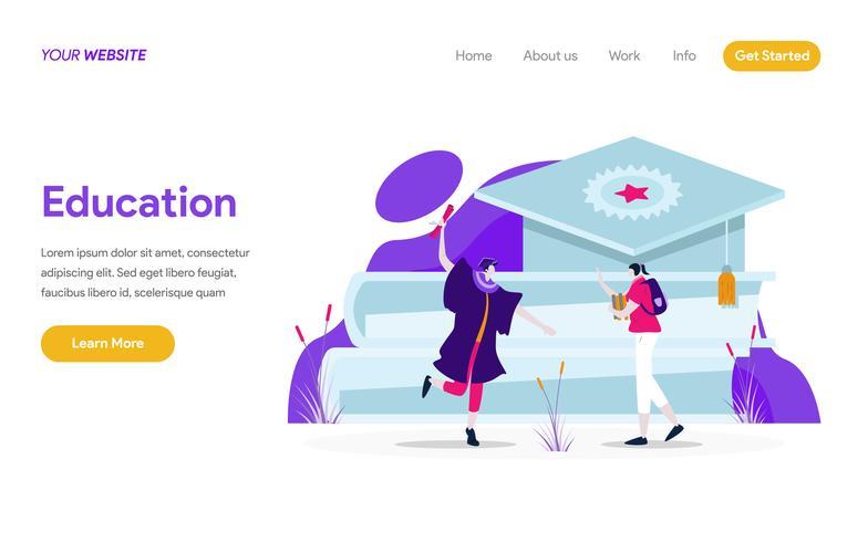 Modelo de página de aterrissagem do conceito de ilustração de educação. Conceito moderno design plano de design de página da web para o site e site móvel. vetor