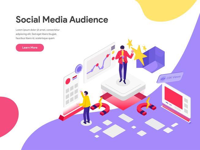 Molde da página da aterrissagem do conceito social da ilustração da audiência dos meios do alcance. Conceito de design plano isométrico de design de página da web para o site e site móvel. vetor