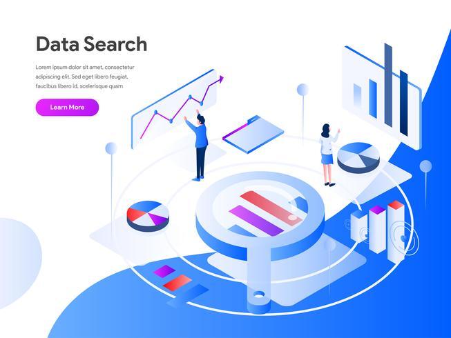 Conceito isométrico da ilustração da busca dos dados. Conceito de design moderno apartamento de design de página da web para o site e site móvel. Ilustração vetorial EPS 10 vetor