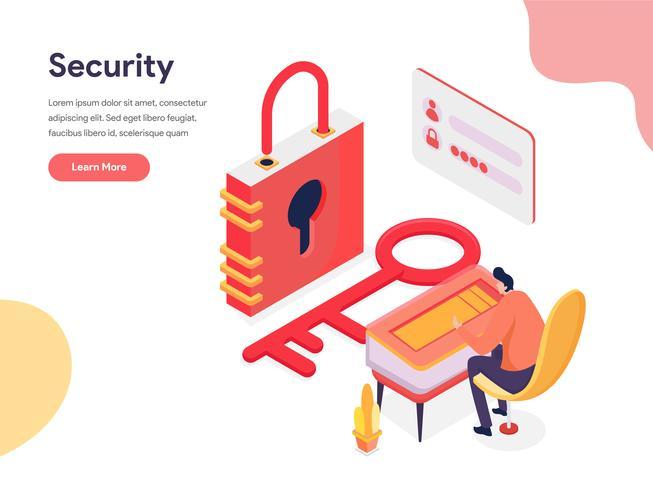Conceito de ilustração de acesso e segurança. Conceito de design isométrico do design de página da web para o site e site móvel. vetor