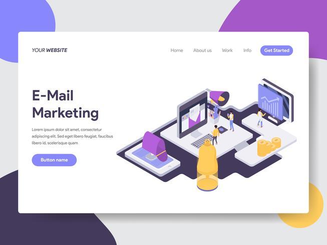 Molde da página da aterrissagem do conceito da ilustração do mercado do email. Conceito de design plano isométrico de design de página da web para o site e site móvel. vetor