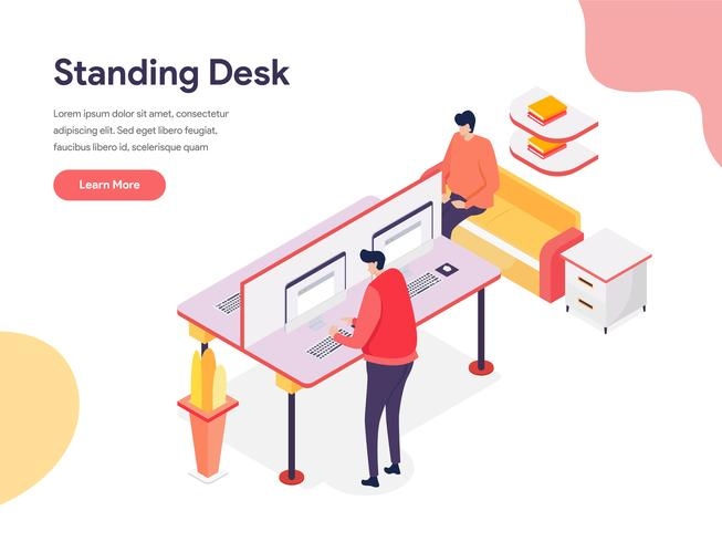 Conceito ereto da ilustração da mesa. Conceito de design isométrico do design de página da web para o site e site móvel. vetor