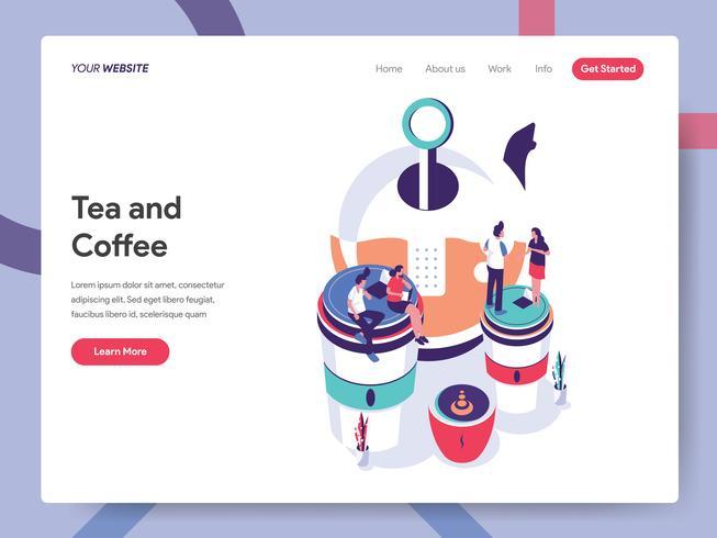 Molde da página da aterrissagem do conceito da ilustração do chá e do café. Conceito de design plano isométrico do design de página da web para o site e site móvel. Ilustração vetorial EPS 10 vetor