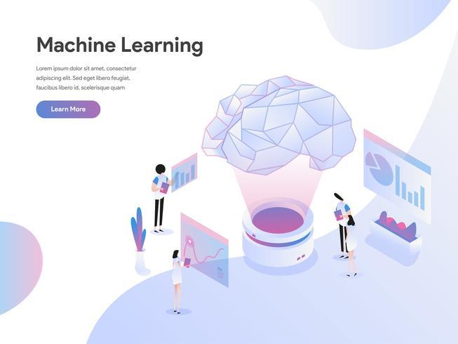 Modelo de página de aterrissagem do conceito de ilustração de aprendizado de máquina. Conceito de design plano de design de página da web para o site e site móvel. vetor
