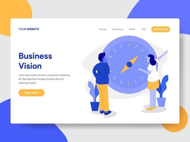 Molde da página da aterrissagem do homem de negócios com visão e conceito da ilustração do compasso. Conceito moderno design plano de design de página da web para o site e site móvel. vetor