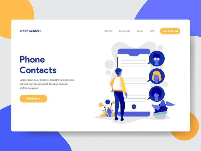 O molde da página da aterrissagem do telefone contata o conceito da ilustração. Conceito moderno design plano de design de página da web para o site e site móvel. vetor
