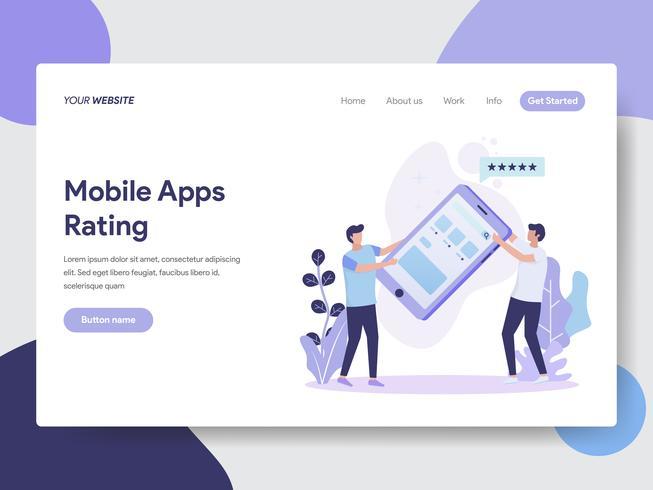 Molde da página da aterrissagem do conceito da ilustração da avaliação de Apps móvel. Conceito moderno design plano de design de página da web para o site e site móvel. vetor