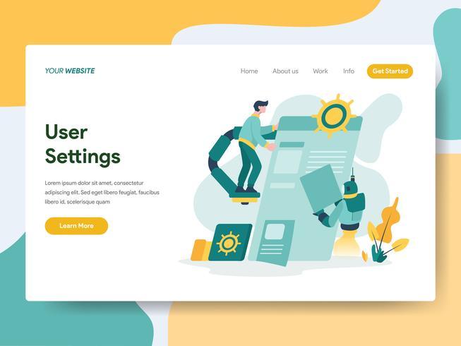 Molde da página da aterrissagem do conceito da ilustração dos ajustes de usuário. Conceito de design moderno plano de design de página da web para o site e site móvel. vetor