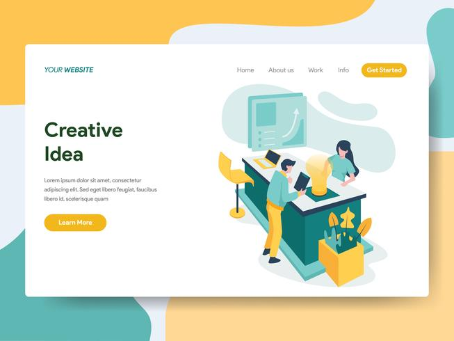 Modelo de página de destino do conceito de ilustração criativa idéia. Conceito de design moderno plano de design de página da web para o site e site móvel. vetor