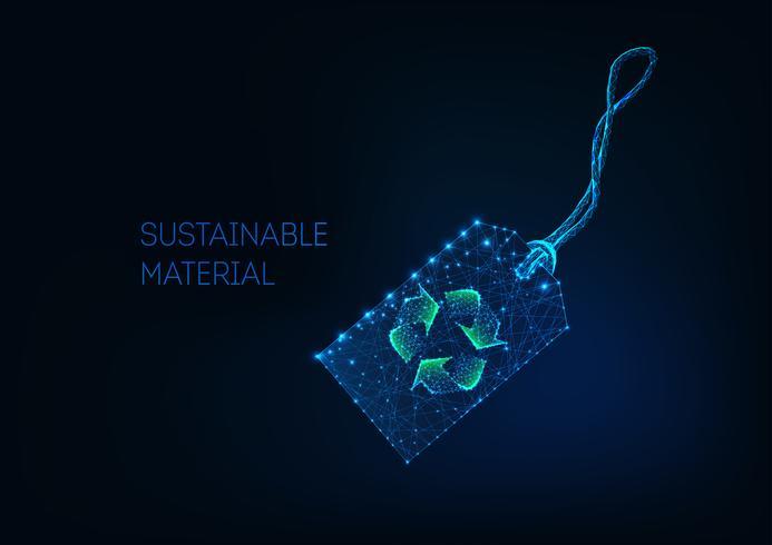Preço de varejo baixo poli futurista com sinal de reciclar verde Material sustentável, tecido reciclado. vetor