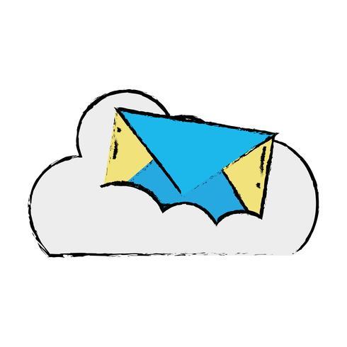 dados em nuvem com mensagem de cartão de email vetor
