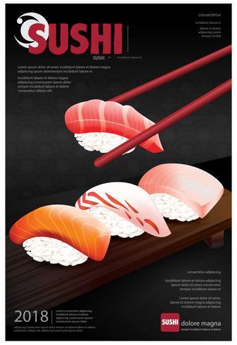 Cartaz, de, restaurante sushi, vetorial, ilustração vetor