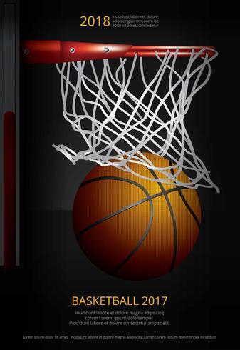 Cartaz de basquete publicidade ilustração vetorial vetor