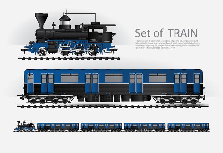 Trem de carga em uma estrada de ferro ilustração vetorial vetor