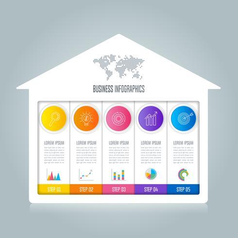 conceito de negócio de design infográfico com 5 opções. vetor