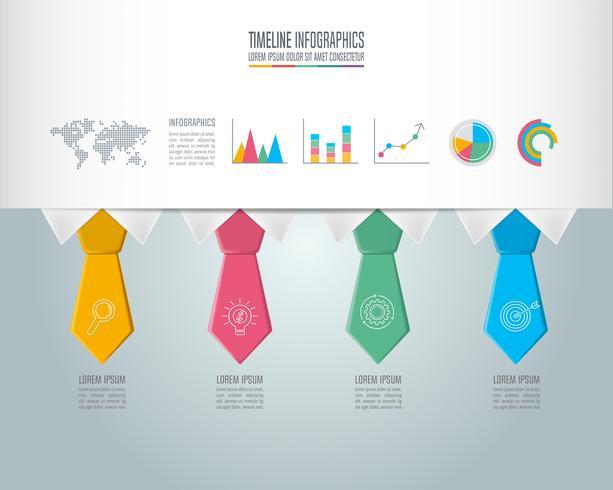 Conceito de negócio infográfico Timeline com 4 opções. vetor