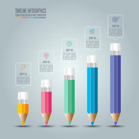 Conceito de negócio infográfico Timeline com 5 opções. vetor