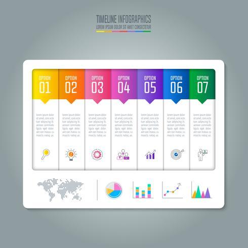 conceito de negócio de design infográfico com 7 opções. vetor