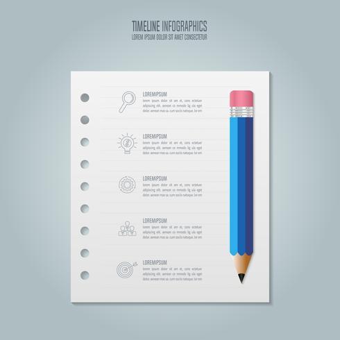 Infografia de educação modelo 5 passo opção. Vetor de design infográfico cronograma
