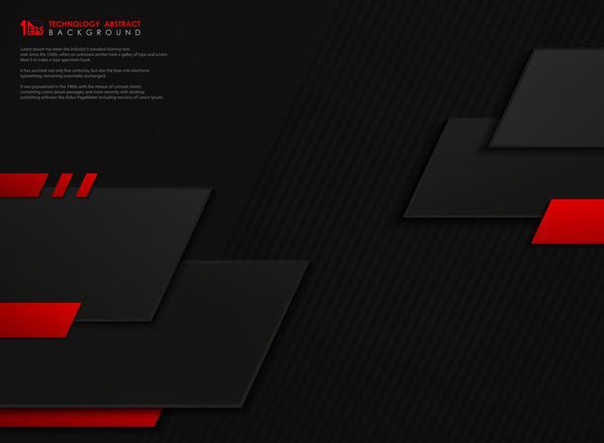 Fundo geométrico do molde geométrico preto vermelho abstrato do inclinação da tecnologia do vetor. ilustração vetorial eps10 vetor